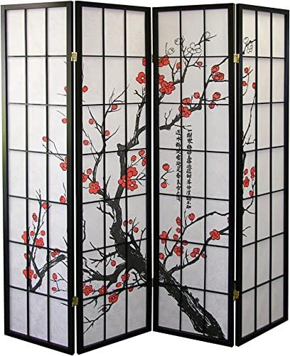 ORE Furniture International 4-Panel Room Divider, Plum Blossom