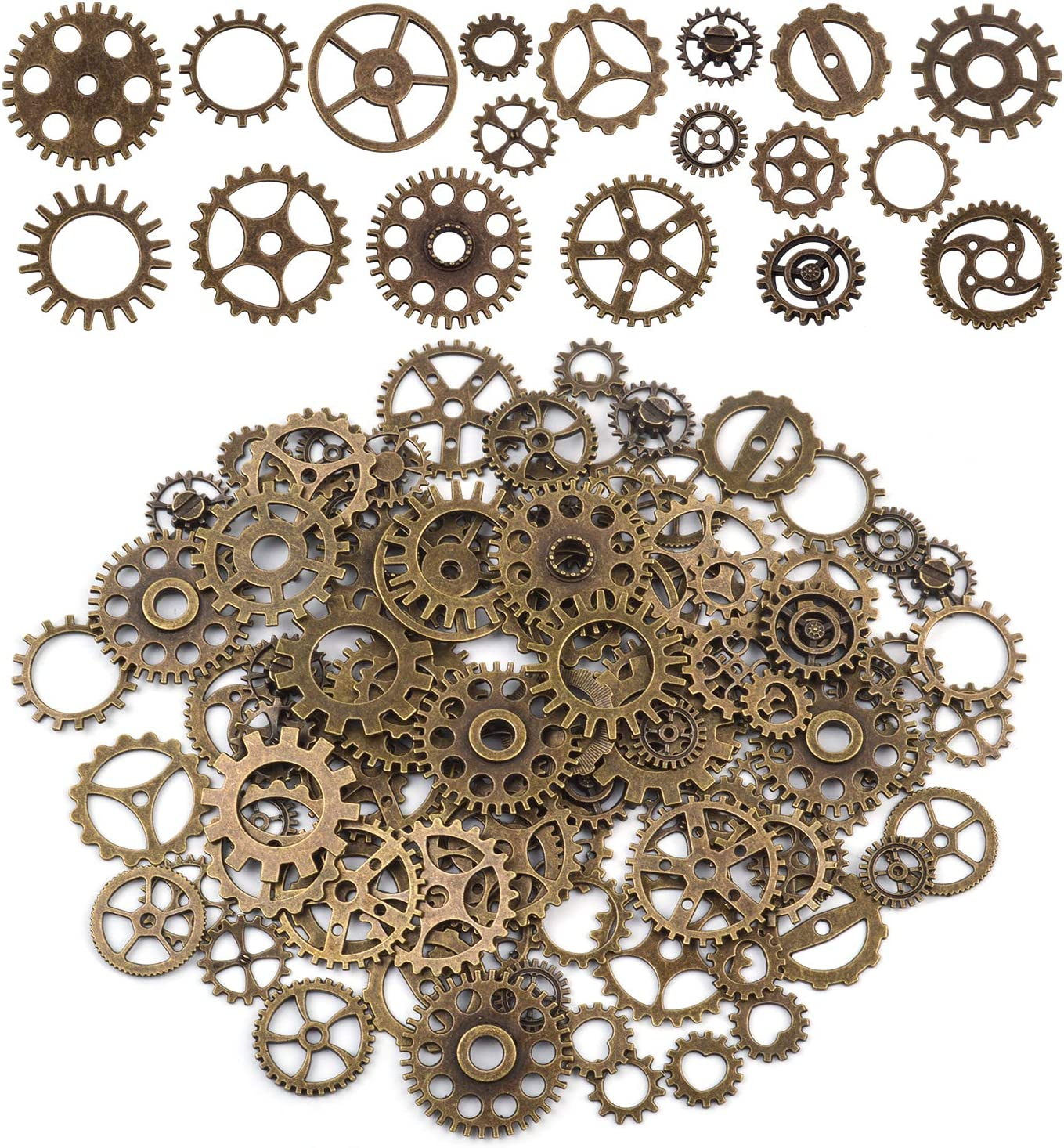 160 GEAR CHARMS PENDANTS STEAMPUNK COGS AND GEARS MADE FROM ALLOY 15mm CRAFT