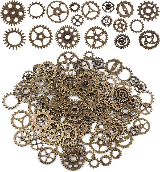 Clock Pendant Antiqued Bronze Steampunk Open Spur Gear Charm 33mm