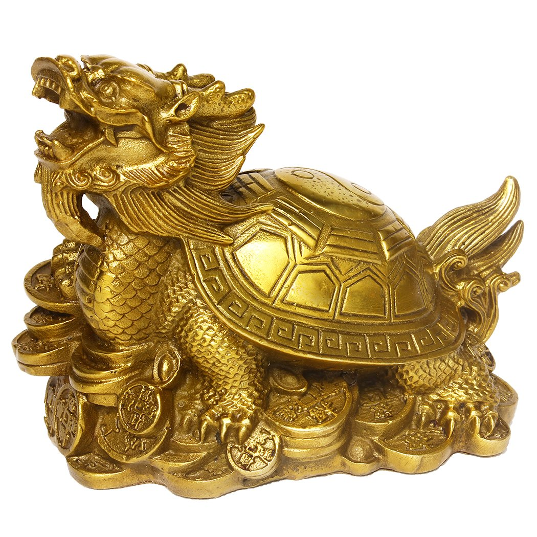 Chinese Brass Gossip Dragon Turtle Statue Collectible Home Decoration BS043