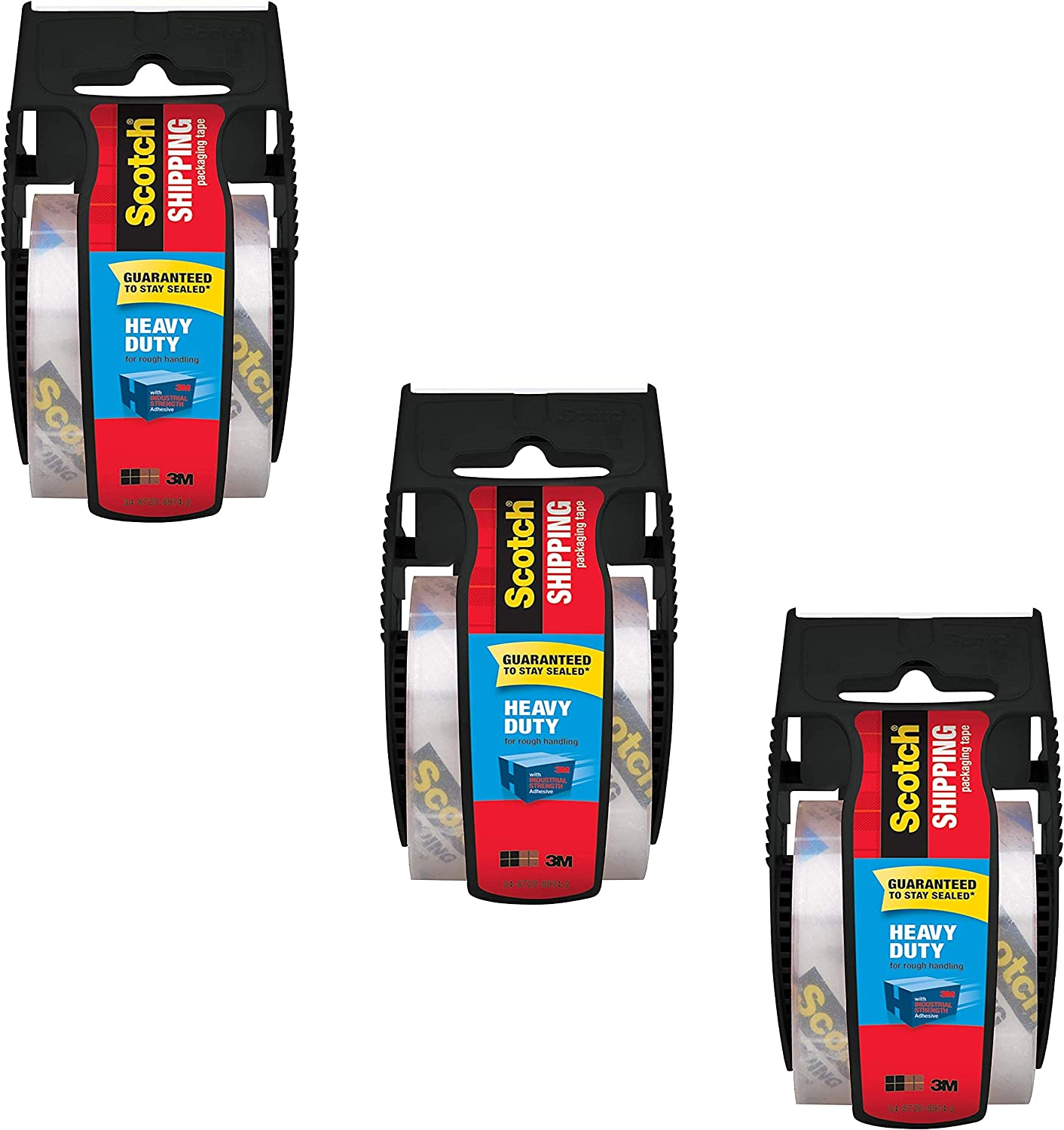 1 Core 142-700-H Scotch Heavy Duty Shipping Packaging Tape Pack of 3 1.88 x 19.4 yd,