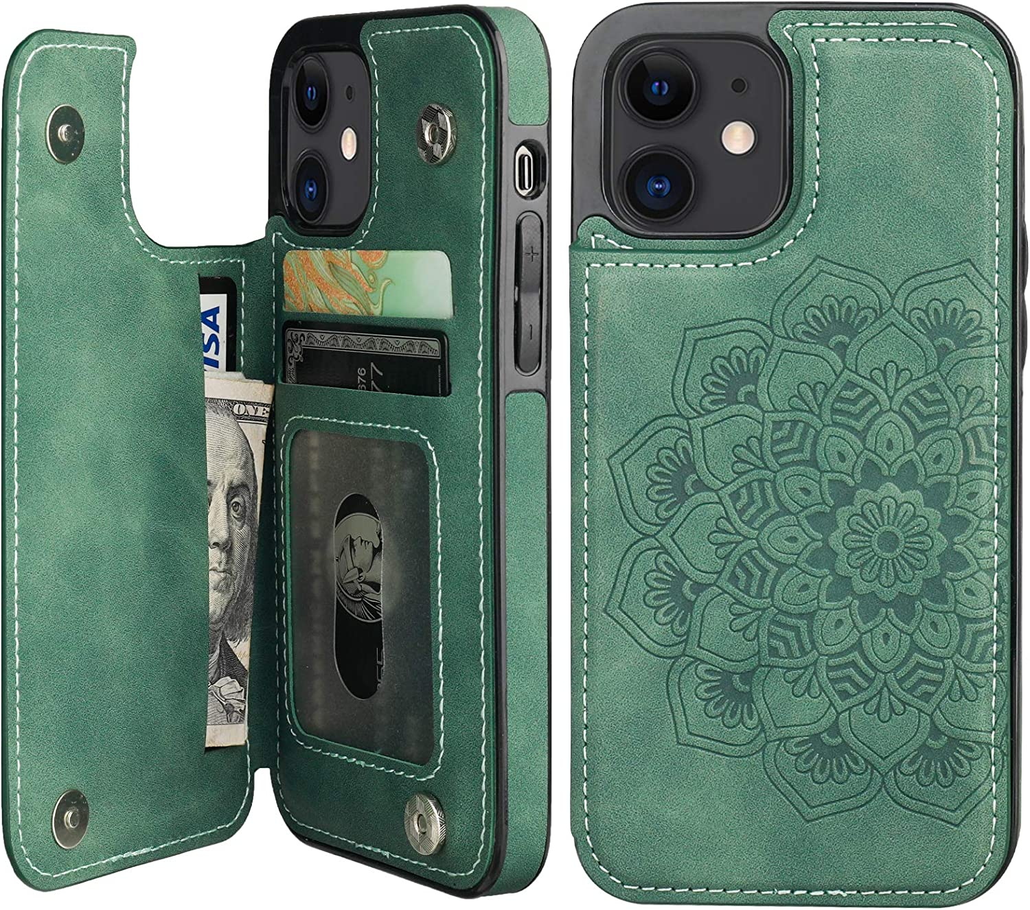 Vaburs Compatible with iPhone 12 and iPhone 12 Pro Case Wallet with Card Holder,Embossed Mandala Pattern Flower PU Leather Double Magnetic Buttons Flip Shockproof Protective Cover 6.1 Inch(Green)