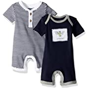 Burt's Bees Baby Boys' Short Sleeve Rompers 2-Pack, 100% Organic Cotton One-Piece Coverall, Midnight Stripe/Solid, 0-3 Months