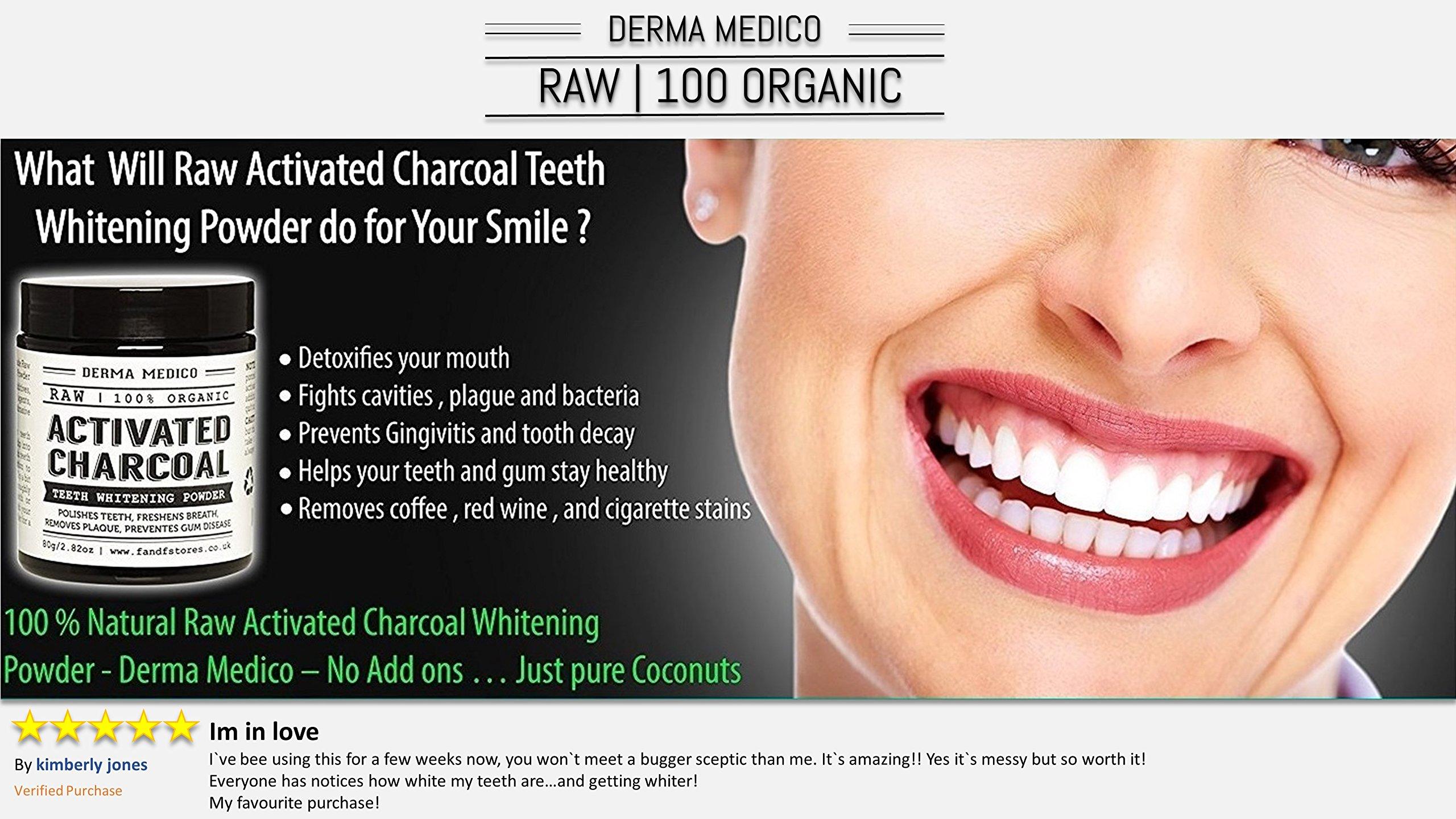 Derma Medico Activated Charcoal Teeth Whitening Powder Raw Coconut Shell by Derma Medico   Polishes Teeth   Freshens Breath   Removes Plaque  
