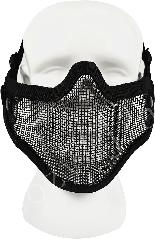 COZYJIA máscaras de Cara de Airsoft, máscaras tácticas de Malla de Acero Ajustable, Correa de cinturón, máscara de Media Cara, protección de la Nariz y la Boca para Airsoft Paintball Cosplay