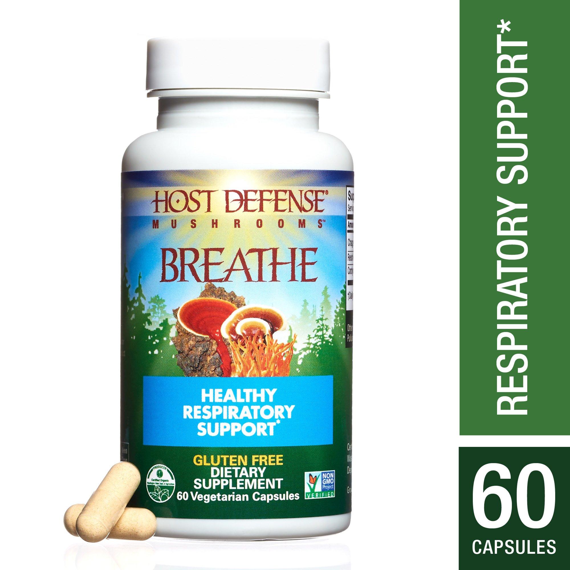Host Defense - Breathe Capsules, Mushroom Support for Respiratory Health, 60 Count (FFP)