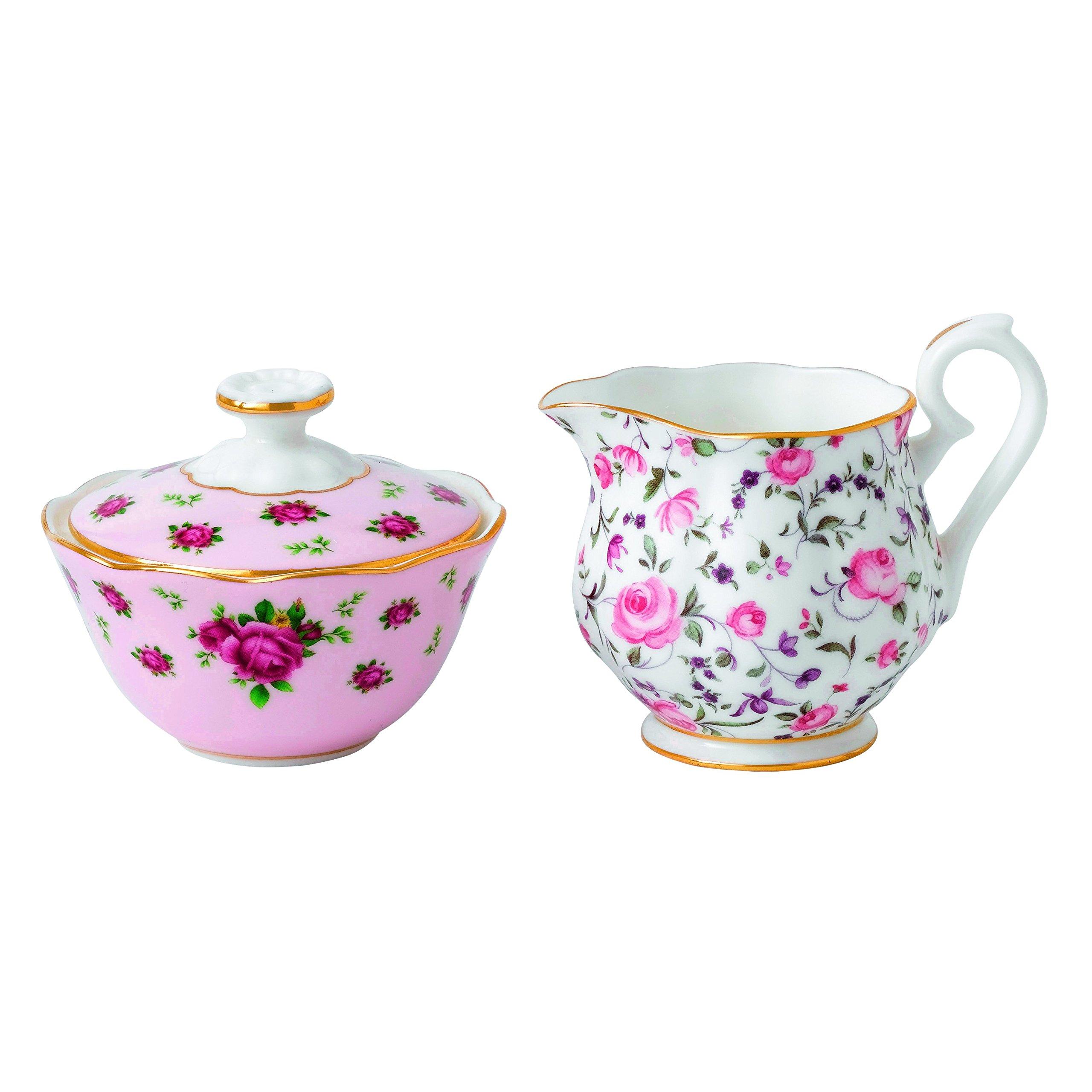 Royal Albert New Country Roses Tea Party Mixed Patterns Mini Creamer & Sugar (Set of 2), Multicolor