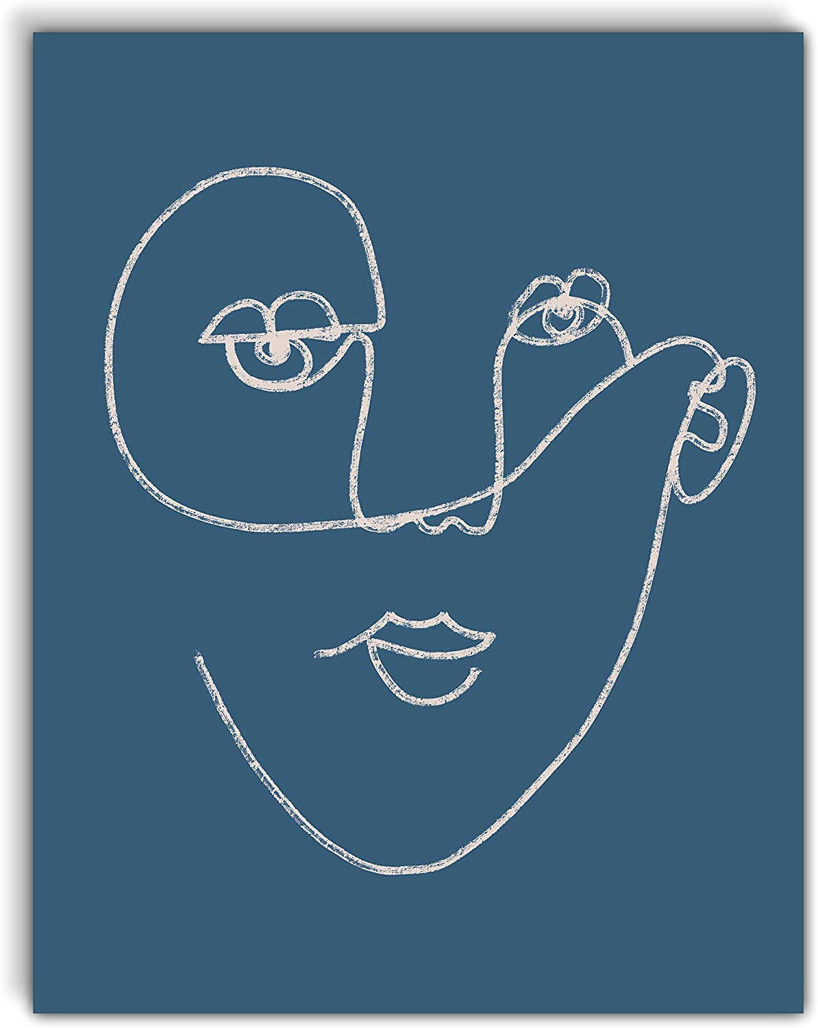 VintBo, Abstract Face, Minimalist Modern Abstract Line Drawing Art Print Poster, Contemporary Wall Art for Home and Bedroom Decor 11x14 inches, Unframed (Blue)