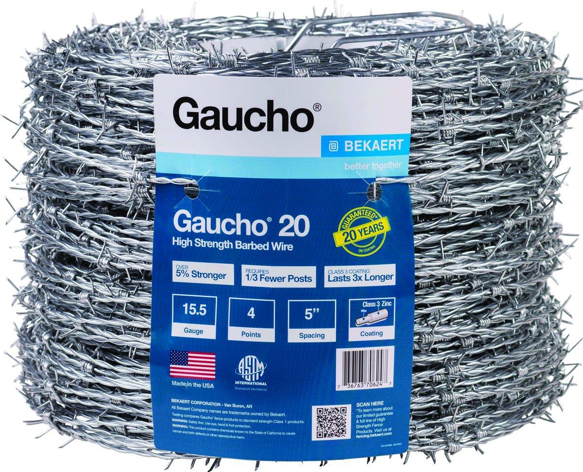 BEKAERT 118293 Gaucho 1320'/20 15.5-Gauge High Tensile Barbed Wire, 4 Point