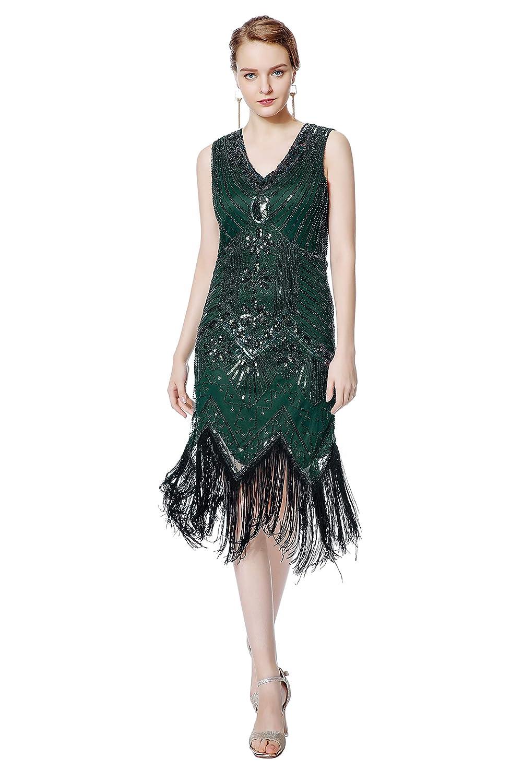 Vintage 1920s Dresses – Where to Buy Metme Womens Flapper Dress 1920s V Neck Beaded Fringed Gatsby Theme Roaring 20s Dress for Prom $50.99 AT vintagedancer.com
