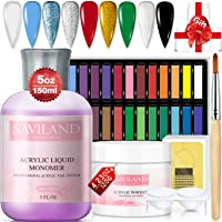 Saviland Acrylic Powder and Liquid Set - Professional Acrylic Nail Start Kit with 24 Soft Pastel Colored Chalks Acrylic…