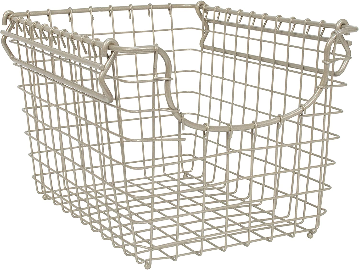 Spectrum Diversified Scoop Stacking Storage Basket, Small, Satin Nickel