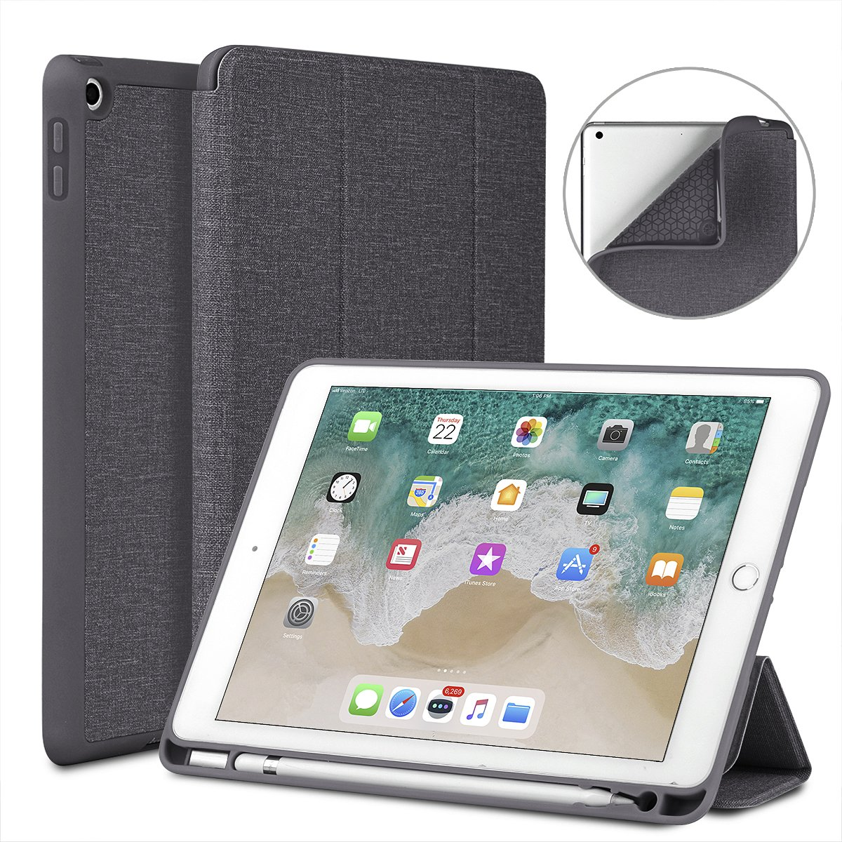 Soke New iPad 9.7 2018/2017 Case with Pencil Holder, Lightweight Smart Case Trifold Stand with Shockproof Soft TPU Back Cover and Auto Sleep/Wake Function for iPad 9.7 inch 5th/6th Generation, Grey