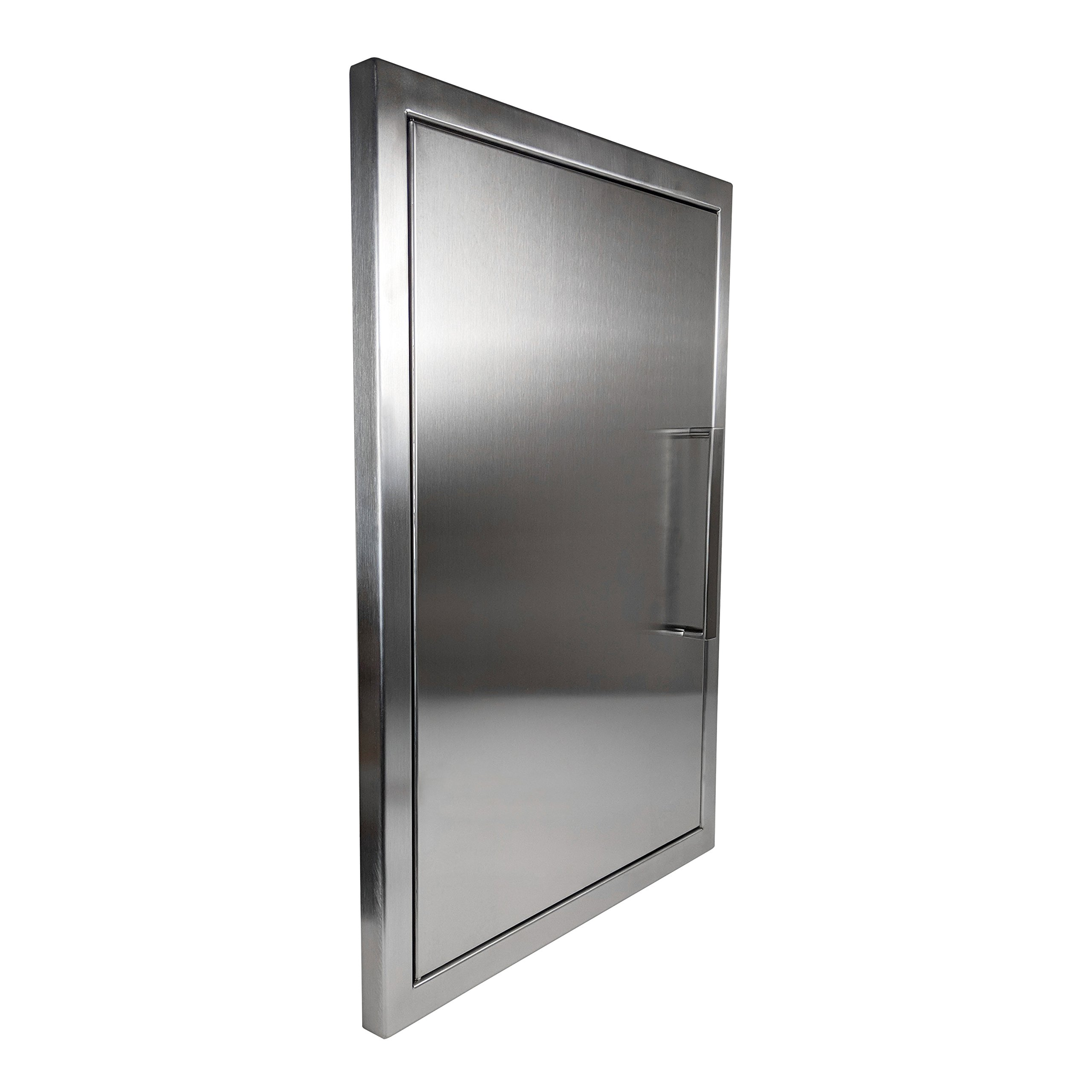 Katzington BBQ ACCESS DOOR - Modern Style - 17'' x 24'' - 304 Grade Stainless Steel - Double Walled Construction - Barbecue Island/Outdoor Kitchen Access Door - Perfect Size for Propane Tank Storage