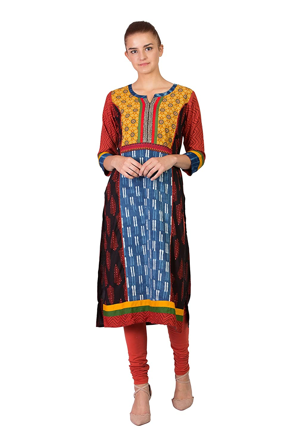 Multi (182bw12xl SABHYATA Women's Kurta Ethnic Long Dress Pure Cotton Kurti Tops for Women Ladies Partywear
