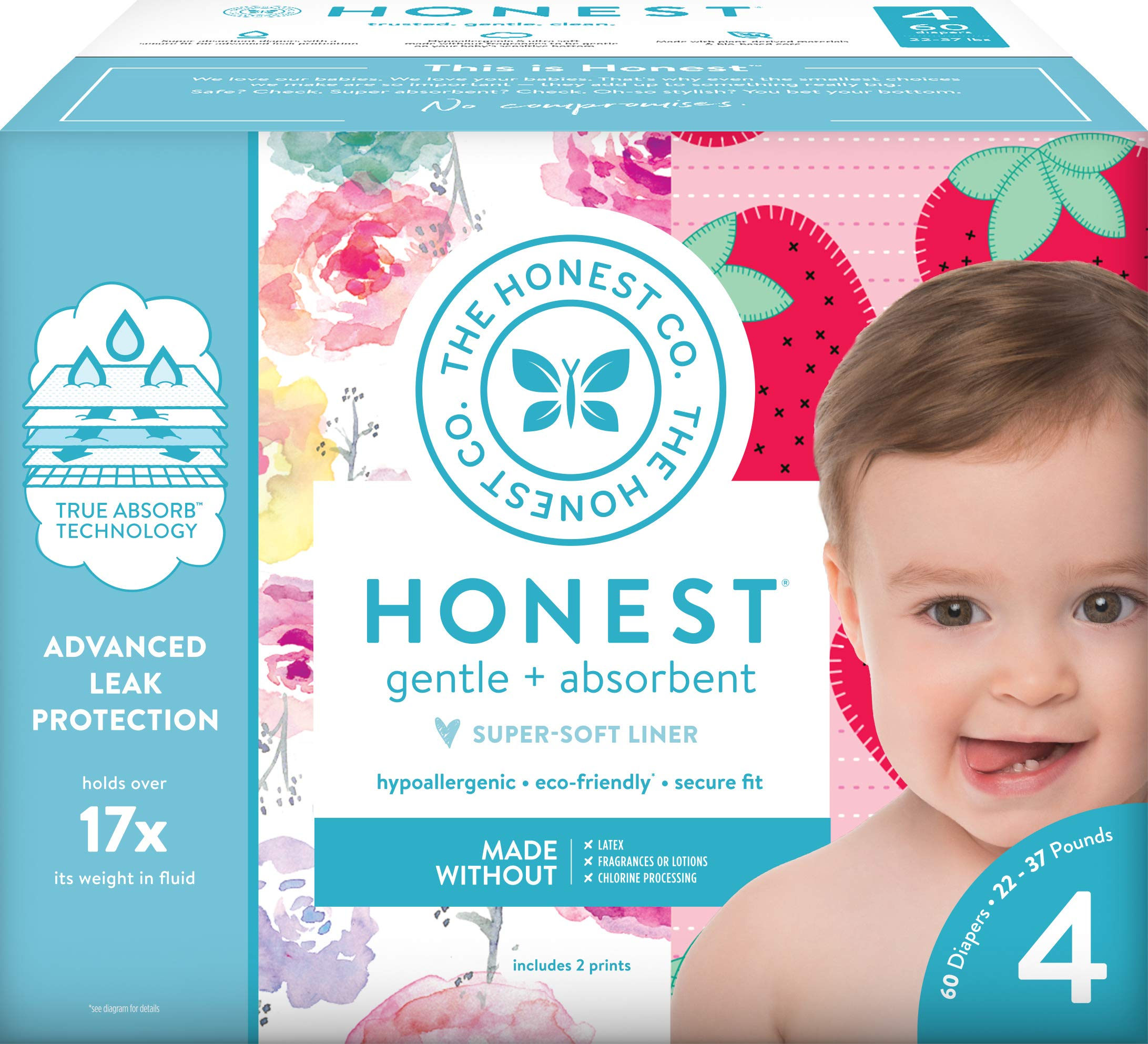 The Honest Company Club Box - Size 4 - Rose Blossom & Strawberries Print with TrueAbsorb Technology | Plant-Derived Materials | Hypoallergenic | 60 Count by The Honest Company