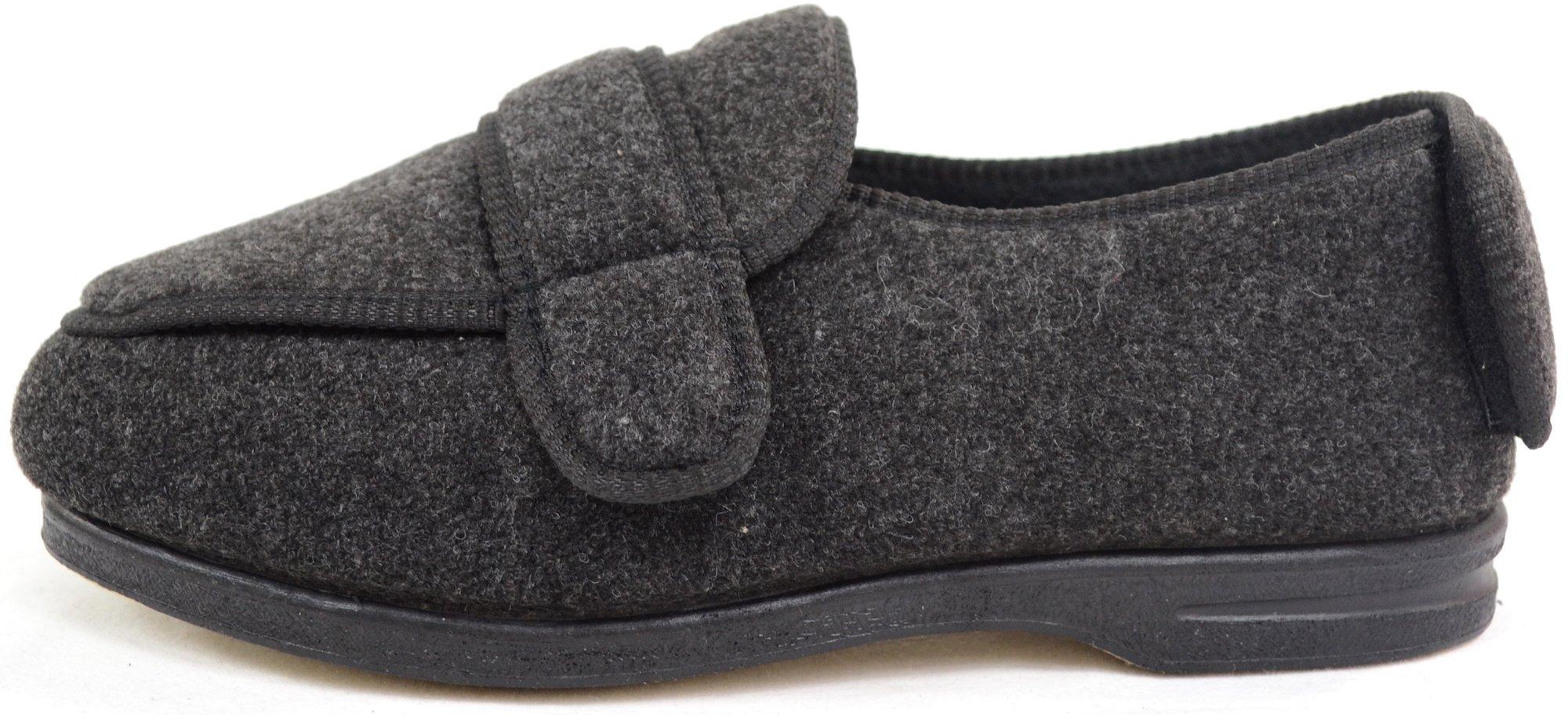 ABSOLUTE FOOTWEAR Mens Orthopaedic/Extra Wide Fit Adjustable Slipper Boot/Slippers - Grey - 10 US by ABSOLUTE FOOTWEAR (Image #5)