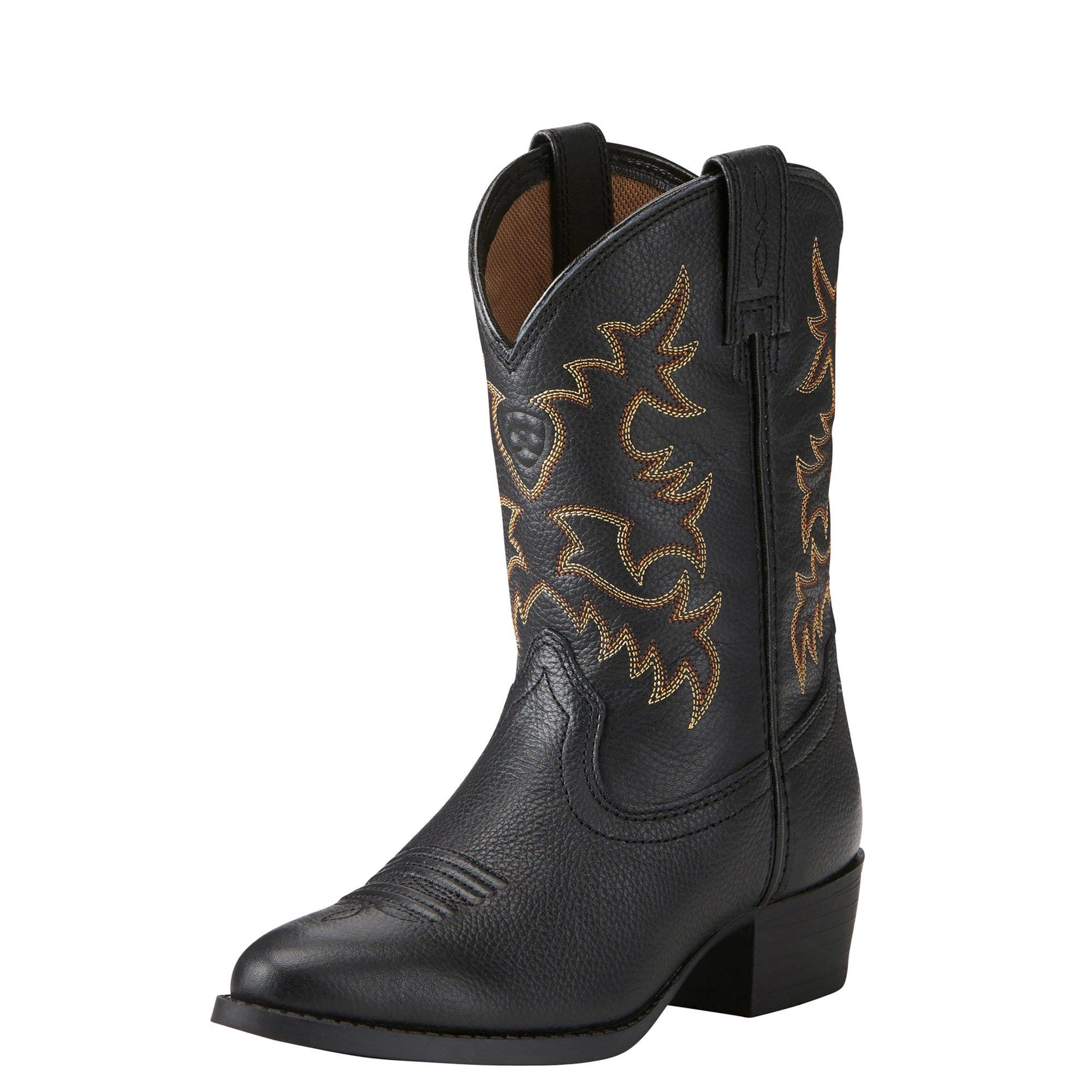 Ariat Kids' Heritage Western Boot, Black Deer Tan, 11.5 M US Little Kid