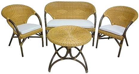 Salotto Completo In Rattan.Savino Filippo Set Completo Salotto In Vimini Bambu Giunco E Rattan