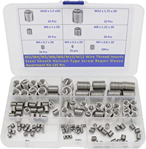 M3 M4 M5 M6 M8 M10 M12 Wire Thread Inserts Steel Sheath Helical Type Screw Repair Sleeve Assortment Kit -125pcs