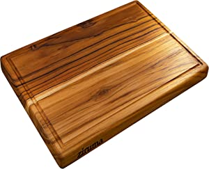 Large Teak Wood Cutting Board for Kitchen - Chopping Block Reversible with Juice Groove & Cured with Organic Beeswax (17x11x1 Inches)