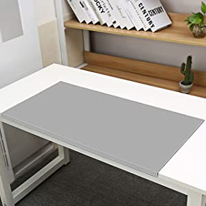 """Non-Slip Soft Leather Surface Office Desk Mouse Mat Pad with Full Grip Fixation Lip Table Blotter Protector 35.4""""x 15.8"""" Leather Pad Edge-Locked (Gray)"""