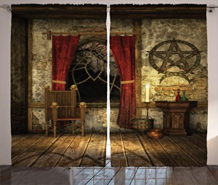 Ambesonne Gothic Curtains, Ancient Pentagram Symbol and Red Curtains in  Mystical Medieval Chamber Ancient Theme, Living Room Bedroom Window Drapes  2 ...
