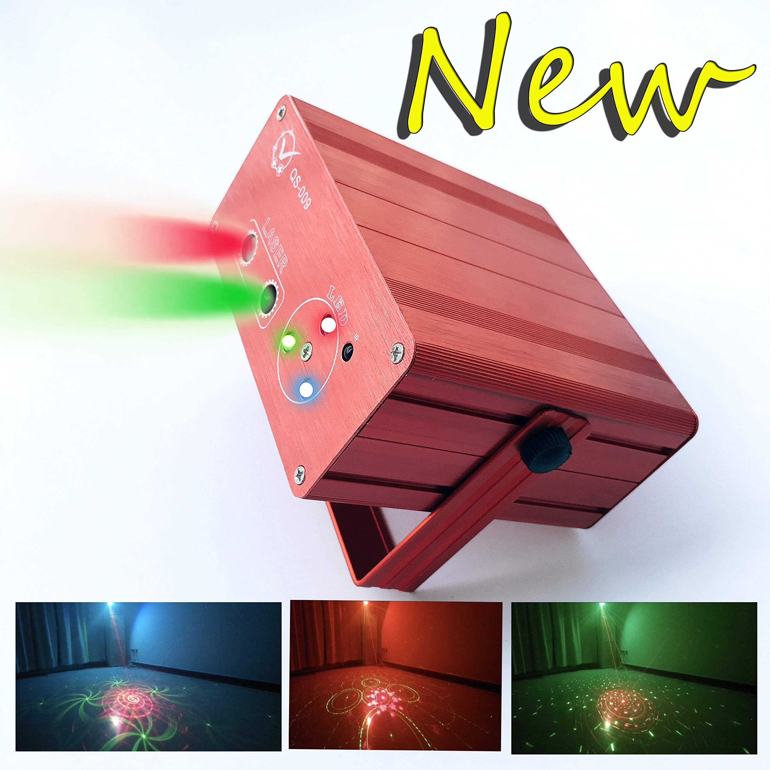 3D Graphics Laser Light 5Light Source 5V 2A Control Background Color With IR Remote Control Voice Activated Stage Lamp Projector Lamp Lumiere DJ Club Party Live Show Projector square by Zaytoner