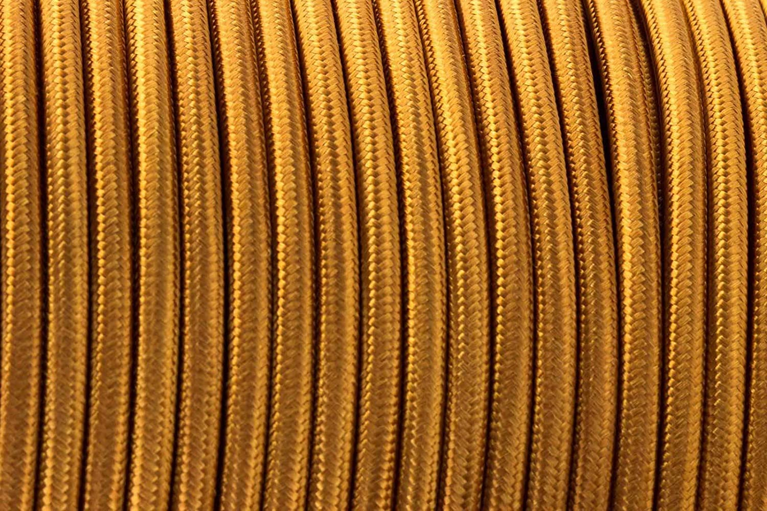 3 Core fabric Braided Cable Lighting Flex Cord Vintage Industrial (1m, Gold) LEDSone