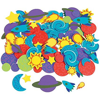 amazon com fun express 500 foam outer space self adhesive shapes