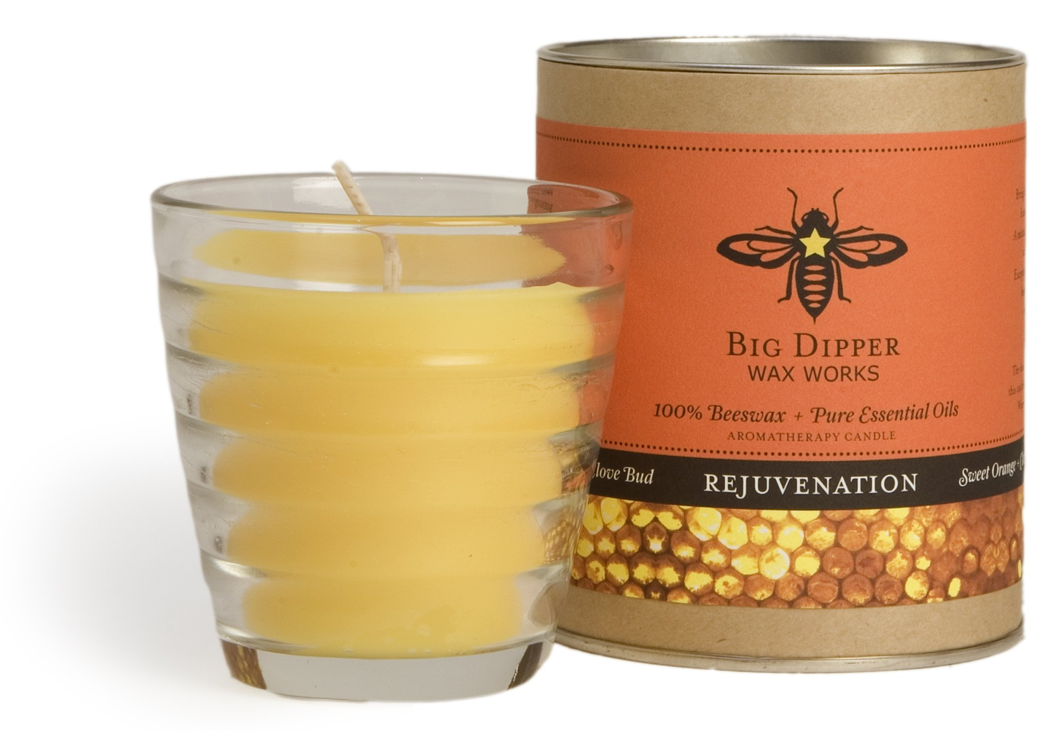 Long-lasting Hand-cast 100% Pure Beeswax Candle, 6 oz. Aromatherapy Beehive Glass - Rejuvenation (Sweet Orange-Clove Bud)