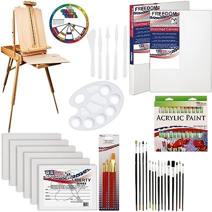 amazon com u s art supply 62 piece acrylic painting kit with