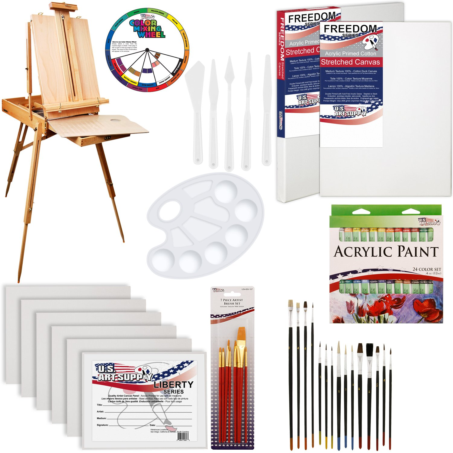 U.S. Art Supply 62 Piece Acrylic Painting Kit with Coronado French Easel, Acrylic Paint, 16''x20'' Stretched Canvases, 11''x14'' Canvas Panels, Nylon Paint Brushes, Multipurpose Paint Brushes and more by US Art Supply
