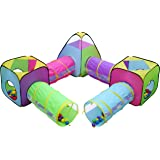 Hide N Side 7pc Children Play Tent and Tunnel Toy Jungle, Indoor & Outdoor Play Tent, Playhouse Kids Pop up Tent with Tunnels, Boys and Girls Tent for Kids Tent