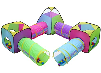 Kids 6pc Play Tent and Tunnel Toy Jungle Indoor u0026 Outdoor Child Pop up Tent  sc 1 st  Amazon.com & Amazon.com: Kids 6pc Play Tent and Tunnel Toy Jungle Indoor ...