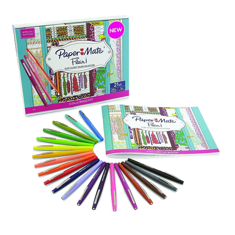 Paper Mate Flair Felt Tip Pens, Medium Point, Assorted Colors, with Women's Closet Adult Coloring Book, 21-Piece Set