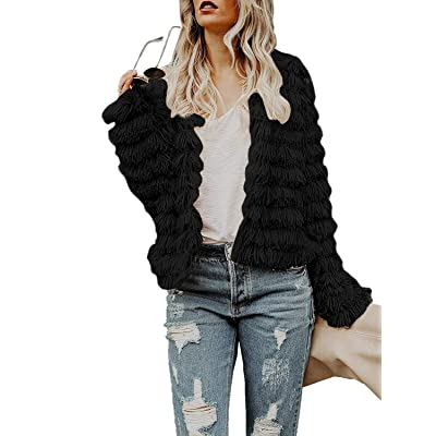 Inorin Womens Open Front Cardigan Faux Fur Coat Vintage Parka Shaggy Jacket Warm Coat Tops at Women's Coats Shop