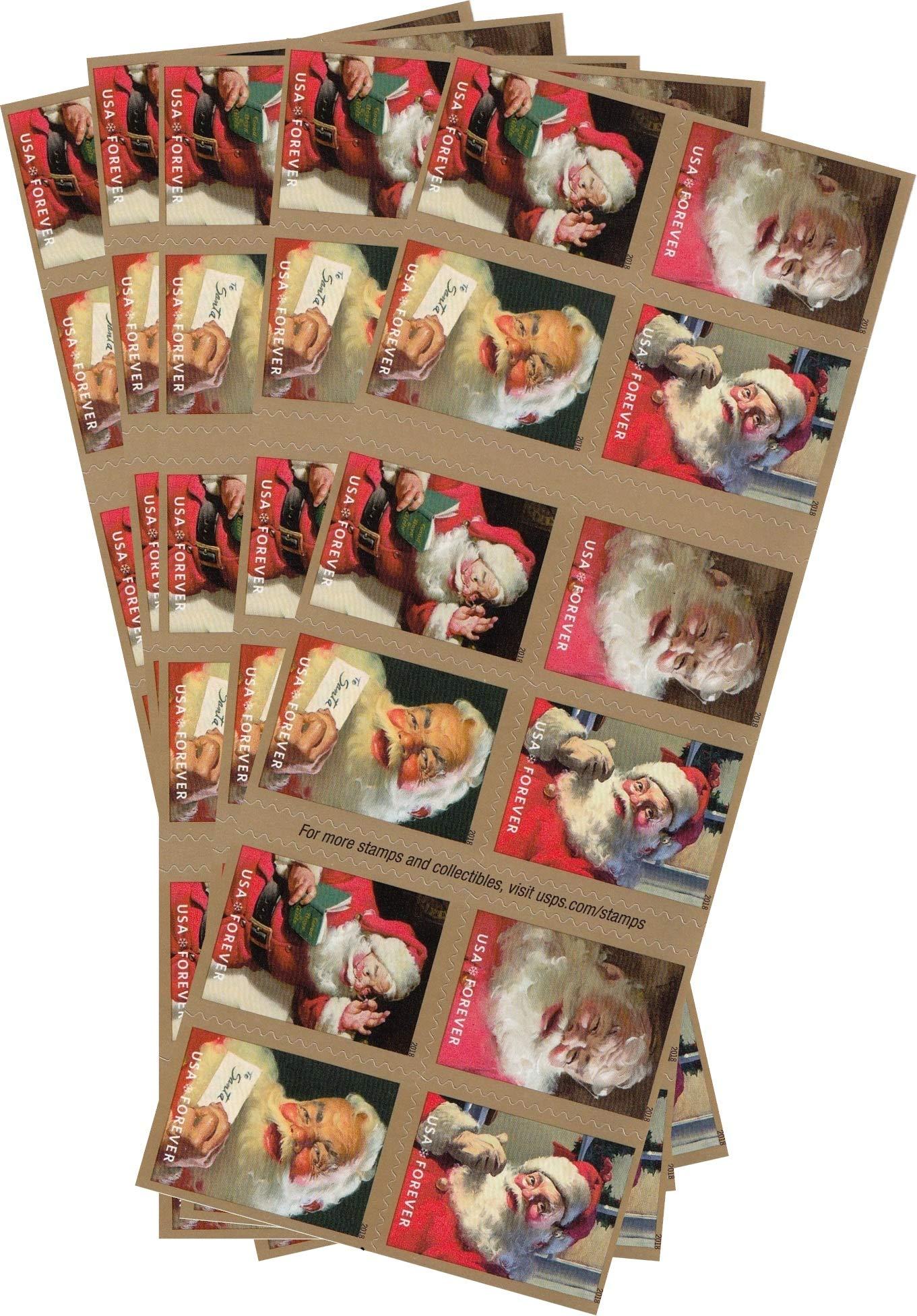 Sparkling Holidays Christmas Santa USPS Forever Stamps (5 Booklets (100 Stamps))