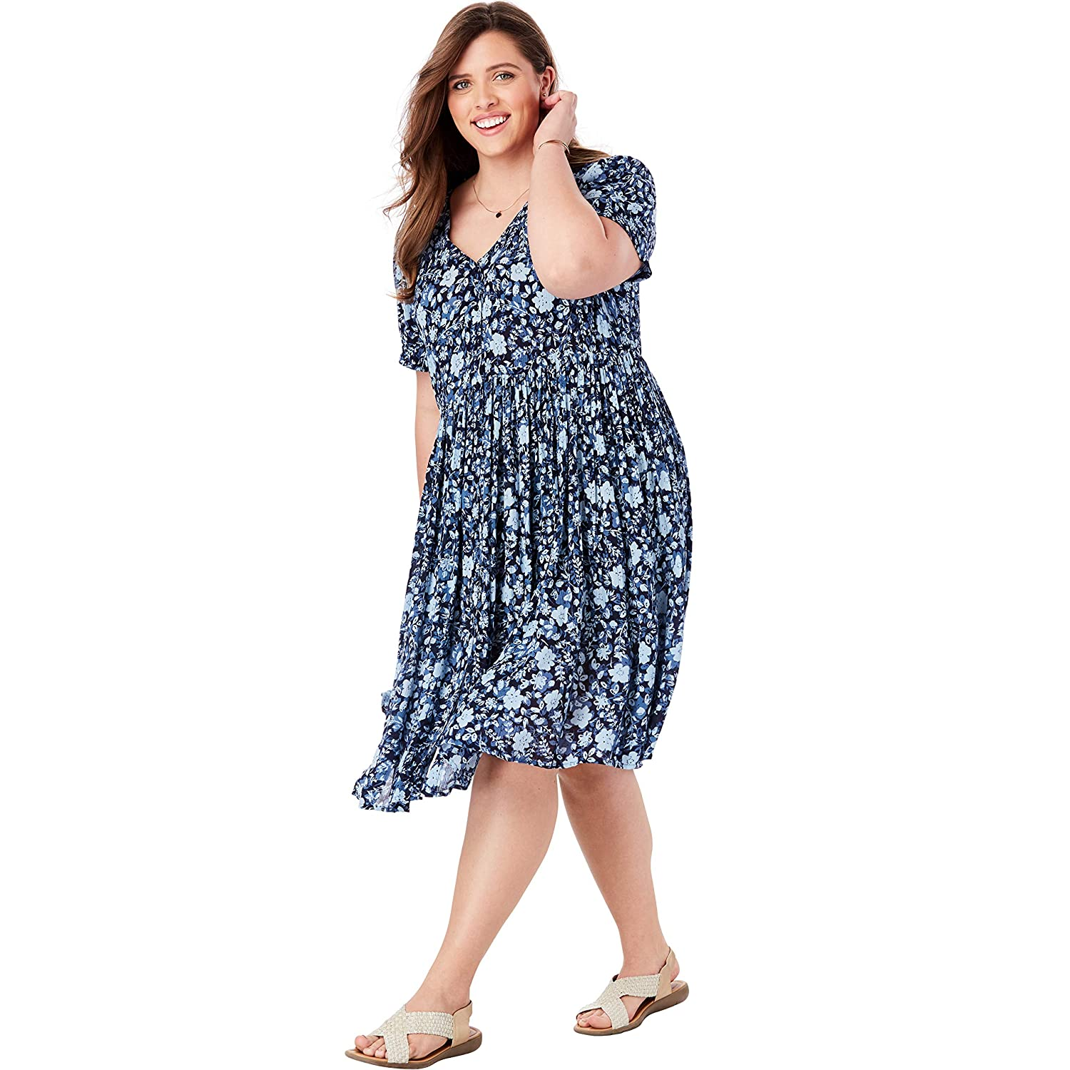 d234ce4cdca Woman Within Women s Plus Size Sleeveless Crinkle A-Line Dress at Amazon  Women s Clothing store