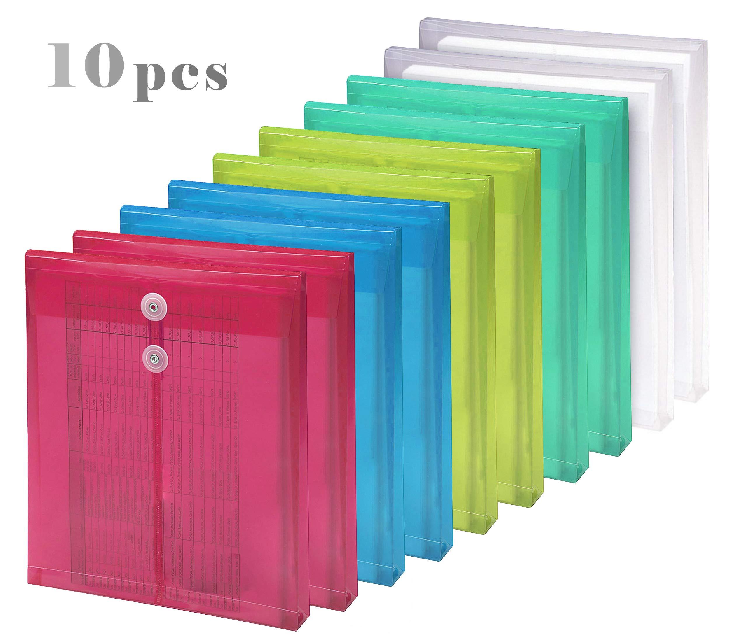 10 Packs Plastic String Envelopes with Expansion Letter Size Side Loading File Paper Project Folder Envelope