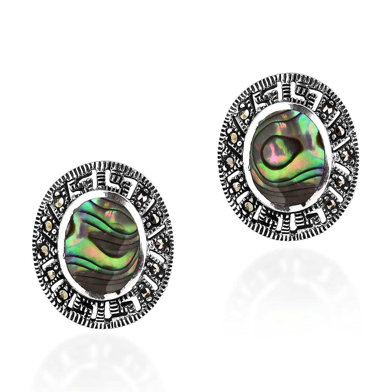Vintage Rainbow Abalone Shell Oval Marcasite Style Pyrite Frame .925 Sterling Silver Post Earrings
