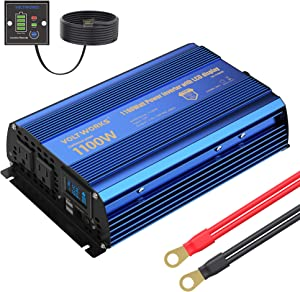 Power Inverter 1100w DC 12V to AC 120V Modified Sine Wave Inverter with 2AC Outlets Dual 2.4A USB Ports Remote Control LCD Display for Car RV Truck Boat