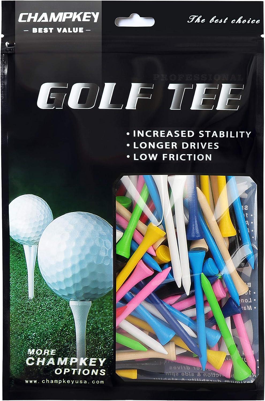 Champkey 100% Natural Hardwood Golf Tees Pack of 120