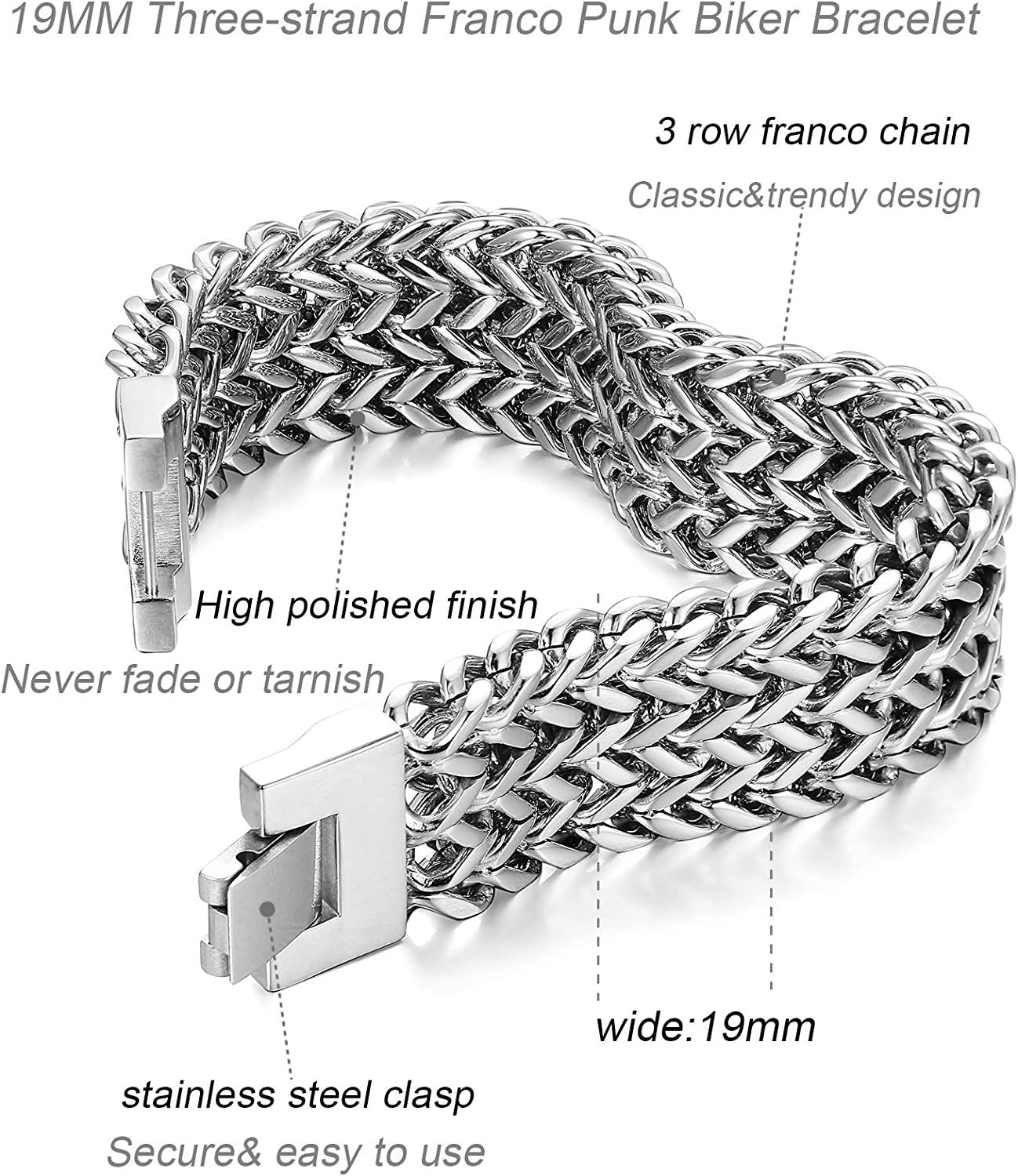 LOYALLOOK Stainless Steel 19MM Cuban Curb Link Chain Mens Bracelets Rock Link Wristband,8.0-9.1 Inches