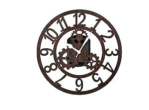 Cloacker Wood Machine Wall Clock (25 cm x 25 cm x 3 cm, Brown)
