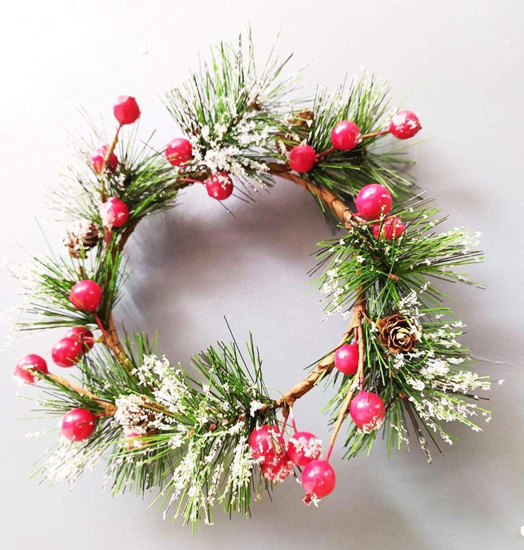 XUQHU Corona de Navidad Corona de Puerta Corona de Navidad Navidad Hecho a Mano 20cm Corona Rattan Colgante Centro Comercial casa Navidad árbol Corona Decoraciones