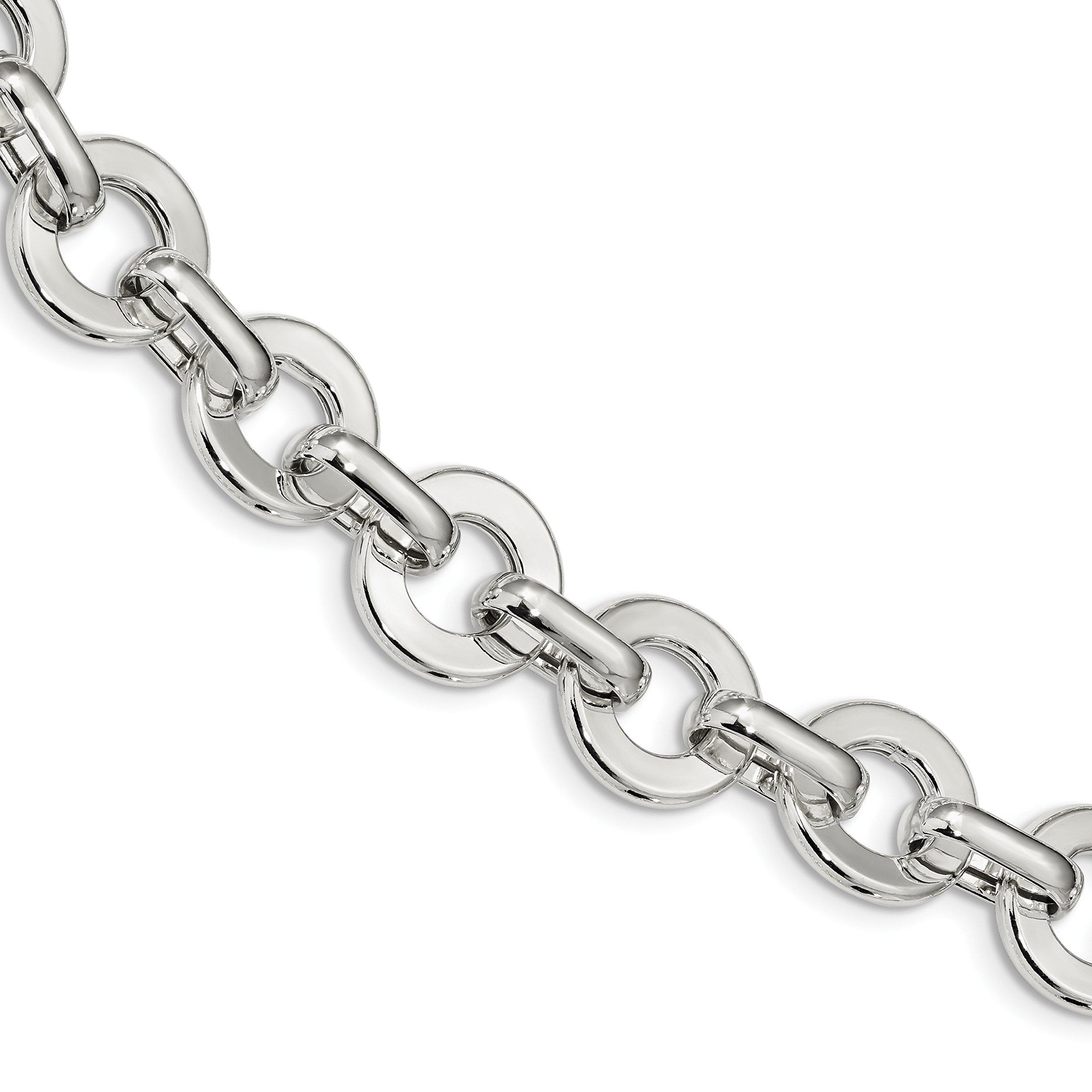 ICE CARATS 925 Sterling Silver Circle Link 7.5 Inch Bracelet Fancy Fine Jewelry Gift Set For Women Heart