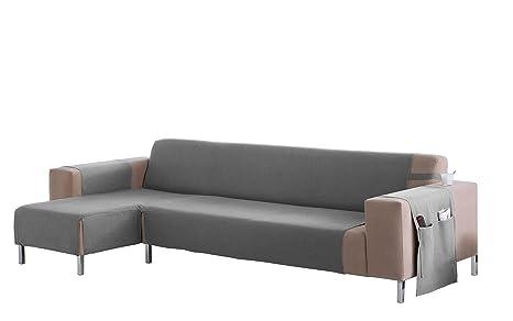 Martina Home Cubre sofá Chaise longue modelo Betta - Tela - Brazo izquierdo - color Gris - medida 240 cm ancho.