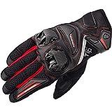 コミネ KOMINE バイク プロテクト レザー メッシュ グローブ プロテクター スライダー 通気性 革 本革 Black/Red L GK-234 06-234