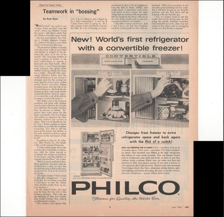 Philco Refrigerator Convertible Freezer Kitchen 1960 Farm Antique Advertisement